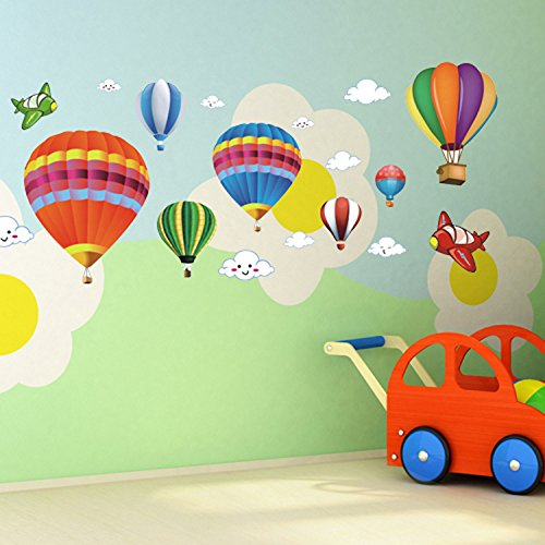 buy Amaonm Removable Creative 3D Hot air Balloon Aircraft and Smile Clouds Wall Decals Kids room Wall Decorations art Decor Stickers Nursery Decor 3D art Decal Bedroom Bathroom Sticker for sale
