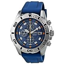 Seiko SNDE03P1 Blue Dial Chronograph Blue Rubber Mens Watch