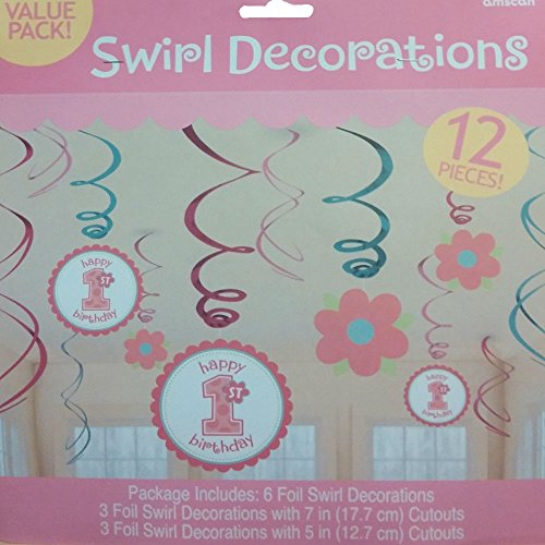Amscan Sweet Little Cup Cake Girl 1st Birthday Swirls Party Decorations 12 pc.