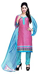CRAFTLIVA Pink & Sky Printed Crepe Dress Material
