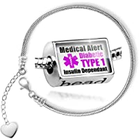 Charm Set Medical Alert Purple Diabetic Insulin Dependant TYPE 1 - Bead comes with Bracelet , Neonblond from NEONBLOND