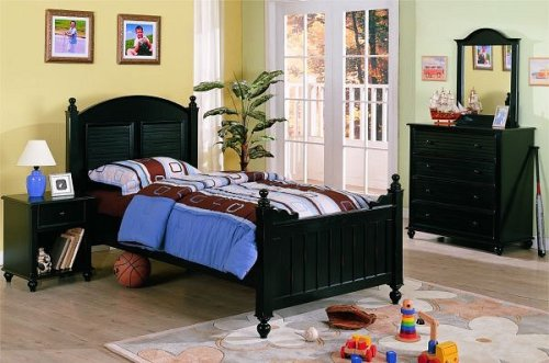 Cheap New black finish wood twin childrens kids bedroom set (F9020)