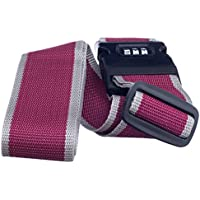 Imported Adjustable Luggage Strap Travel With Combination Lock Red And Grey