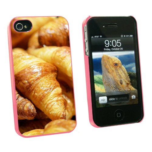 Croissants Bread - France Paris - Snap On Hard Protective Case for Apple iPhone 4 4S - Pink