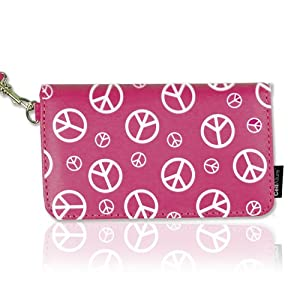 CellAllure Horizontal Pouch with White Peace Sign Everywhere for iPhone, iPod Touch and Most Cell Phones