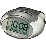 Seiko QHL023A LCD Alarm Clock with Calendar/Thermometer, Metallic Grey