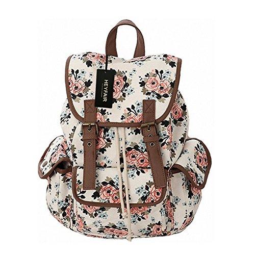 HEYFAIR Women Casual Floral Canvas School College Backpack Cute Bags Daypack (green)