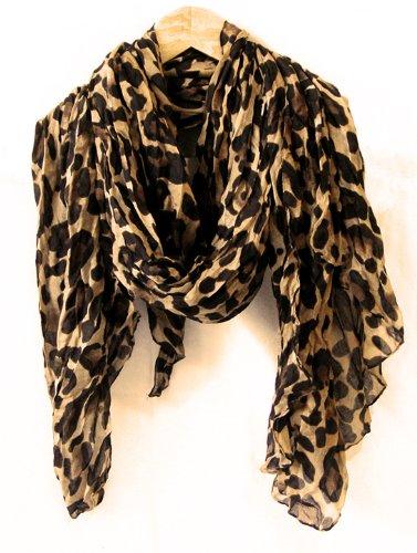 Celebrity Light Brown Leopard Animal Print Shawl Scarf Shawls Scarves