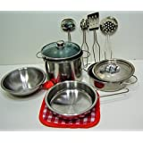 10-piece Playset Metal Pots and Pans Kitchen Cookware for Kids with Cooking Utensils Set