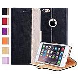 iPhone6s ケース iPhone6ケース,Fyy® 100% 手作り 良質PUレザーケース 手帳型 保護カバー カード収納ホルダー付き スタンド機能付 マグネット式 スマートフォンケース ブラックxゴールド