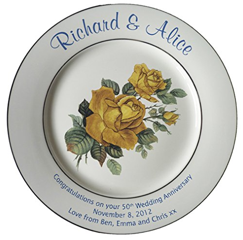 Personalized Bone China Commemorative Plate For A 50th Wedding Anniversary - Yellow Rose Design With 2 Gold Bands