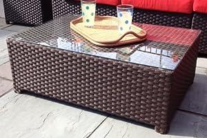 Outdoor Wicker Coffee Table Modern All-weather Wicker Table by Wicker Paradise