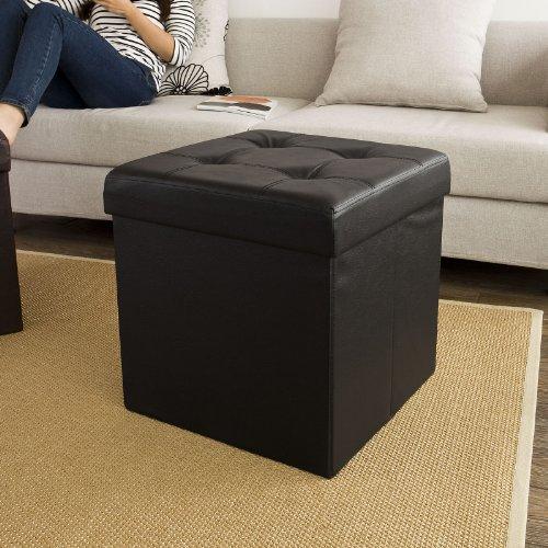 SoBuy FSS27-Sch XXL 48x48x48cm, Coffre de Rangement, Cube Pouf Dé Pliable, Tabouret Boîte, Assise Rembourrée, Haute qualité, Noir