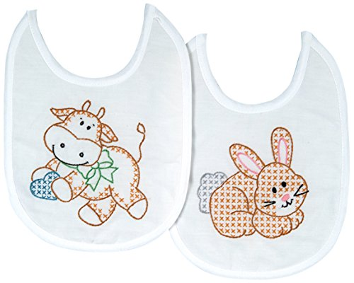 Jack Dempsey Stamped White Bibs, 7-1/2 x 10-Inch, Heavenly Creatures, 2-Pack