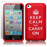 Apple iPod Touch 4th-Gen Red Keep Calm & Carry On Lasered Silicone Skin / Case / Cover / Shell + Screen Protector PART OF THE QUBITS ACCESSORIES RANGEby Qubits