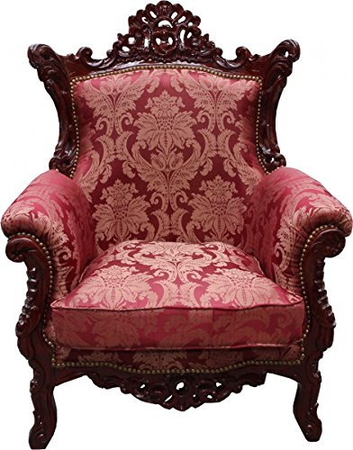 Casa Padrino Barock Sessel 'Al Capone' Mod2 Bordeaux Muster / Braun Rot Möbel Antik Stil - Limited Edition