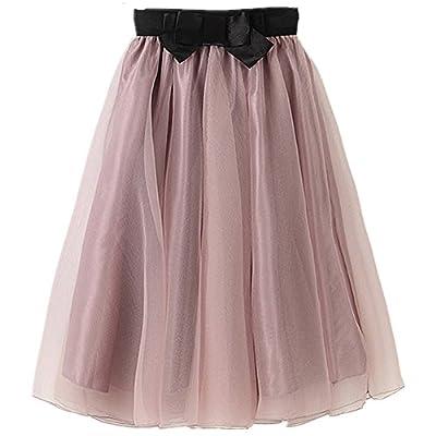YSJ Lady's Organza Princess Skirt Bowknot Pleated Midi/ Knee Length Skirts