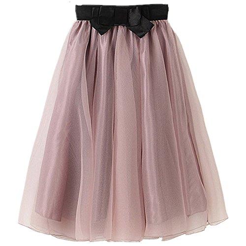 YSJ Lady's Organza Princess Skirt Bowknot Pleated Midi Skirts (Lavender Blush)