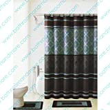 Brown and Blue 15-piece Bathroom Set: 2-rugs/mats, 1-fabric Shower Curtain, 12-fabric Covered Rings