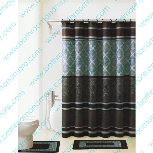 Brown and Blue 4-piece Bathroom Set: 2-rugs/mats, 1-fabric Shower Curtain, 12-fabric Covered Rings