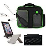 GREEN TRIM BLACK Pindar Durable Water-Resistant Nylon Protective Carrying Case Messenger Shoulder Bag For HP SlateBook X2 10.1 inch Android 4.2 (Jelly Bean) Tablet + Slim Travel Wireless Bluetooth Keyboard + Professor Pen 3 in 1 Red Laser Pointer / LED Wh