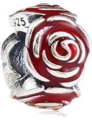 Choruslove Red Rose Flower Charm Authentic 925 Sterling Silver Enamel Spacer Bead For Valentine Gift Fit European...