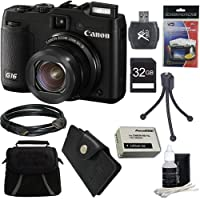 Canon PowerShot G16 12.1 MP CMOS Digital Camera with 5x Optical Zoom and 1080p Full-HD Video Ultimate Bundle With 32GB Secure Digital High Speed Memory Card, Digpro Deluxe Case, Extra Battery, Card Reader, Tripod , Card Wallet , HDMI Cable , Screen Pro by