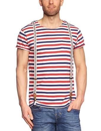 Scotch & Soda Herren T-Shirt 13010251136 - Signature crewneck tee with suspender, Gr. 48 (M), Mehrfarbig (A - dessin A)