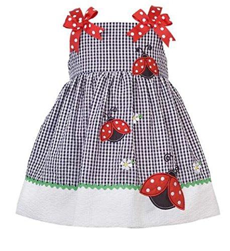 Rare Editions Baby Girls Seersucker Daisy Ladybug Summer Dress set, Navy, 2T