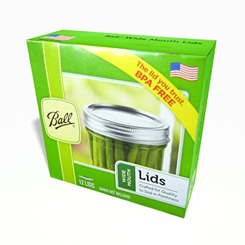 5 X Ball Wide Mouth Dome Lids, 12 per Box - Pack of 4 (48 Lids Total)