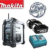 MAKITA BMR101W Job site DAB Digital Radio - White Plus BL1830 18.0V 3.0Ah Lithium-ion Battery Plus DC18RC 14.4-18V Lithium-ion Battery Charger 240V