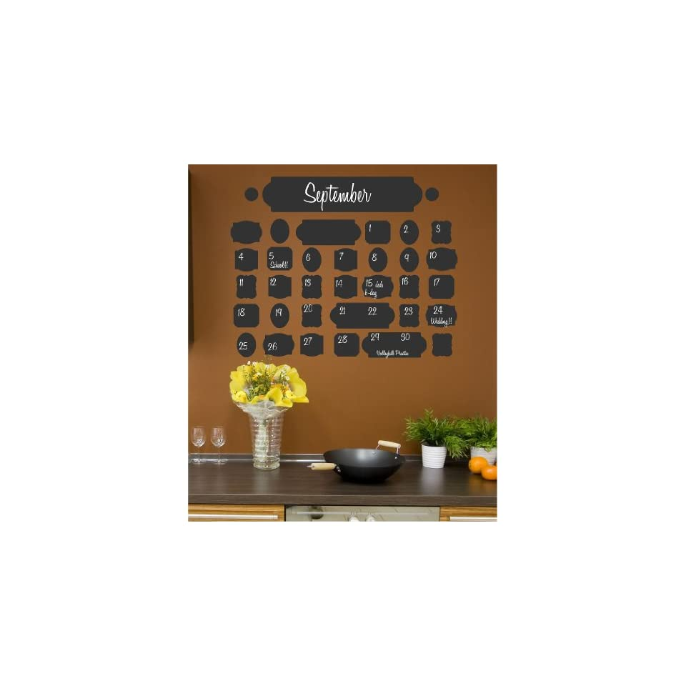Vintage chalkboard calendar wall saying vinyl lettering home decor decal stickers quotes on Home decor wall calendar