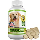Amazing Probiotics for Dogs 100% Pure All-Natural - Easy, No Measuring, No Mess Probiotic Plus Joint Protection - Diarrhea, Gas, Hip Pain Relief - Tasty Unscented Food Grade Pet Supplement - 120 Tasty Chewable Tablets Your Dog Will Love