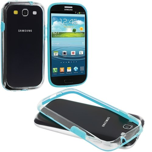Cell Accessories For Less (Tm) Baby Blue / Clear Tpu Bumper For Samsung Galaxy S3 - By Thetargetbuys front-562081