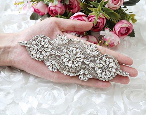 [QueenDream,Socialite Bridal Applique ,Bridal applique trim,Individual Wedding Dress Belt Applique,Crystal Applique Accessory for Wedding] (Dress Accessories)