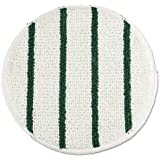 "Rubbermaid Commercial Low Profile Scrub-Strip Carpet Bonnet, Carpet,19"", White/Green - one pad."