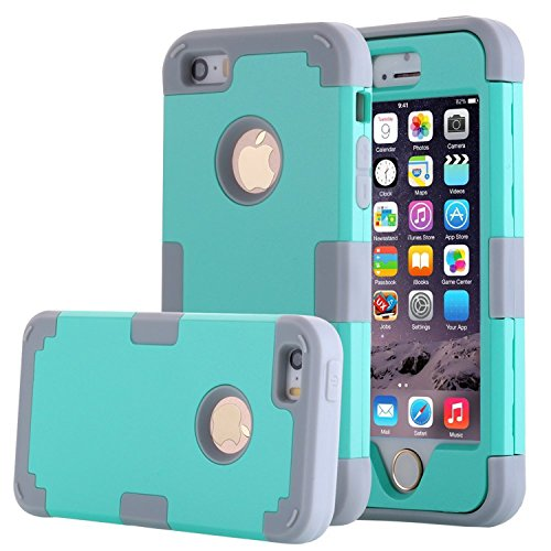 iPhone 5S Case, Phone SE Case, Asstar 3 in 1 Hard PC+ Soft TPU Impact Protection Heavy Duty Shockproof Full-Body Protective Case for Apple iPhone SE / iPhone 5 5S (Mint grey) (Iphone 4 Lifeproof Case Blue compare prices)