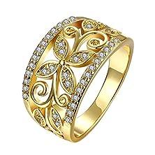 buy 18K Rose Gold Filled Ring Finger Band Cz Zircon Gemstone Flower Wedding Rings (Gold Size 7)