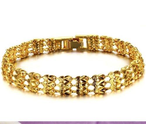 bigsoho 18k Gold Plated Sparkle Hollow Wristband Noble Chain Girls/Women Bracelets Bangle 19cm,13g