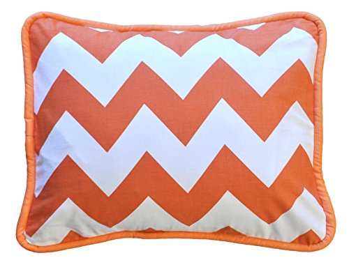 "New Arrivals Accent Pillow, Zig Zag in Tangerine, 12"" X 16"""