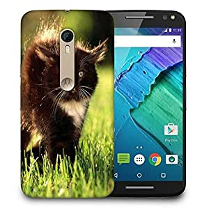 Snoogg Black Cat Printed Protective Phone Back Case Cover For Motorola X Style