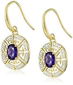 18k Gold Plated Sterling Silver Two Tone Oval African Amethyst Greek Key Wire Dangle Earrings