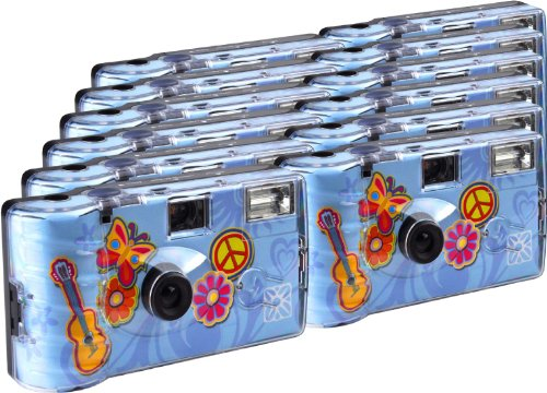 TopShot Lot de 12 appareils photo jetables avec flash Motif Flower Power 27 prises