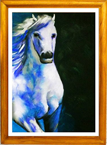 """Horse Snow"" Framed Fine Art Print In Natural Wood Frame With Glass, Beautifull Runing White Horse."