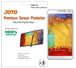JOTO Premium Screen Protector Film for Samsung Galaxy Note 3 (Note III) Smartphone, Ultra Crystal Clear (Invisible) with Lifetime Replacement Warranty (3 Pack)