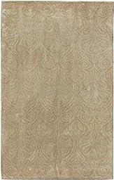 eCarpetGallery Handmade Aurora 5-Feet 0-Inch by 8-Feet 0-Inch Wool/Silk Rug, Khaki