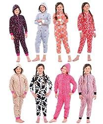 Gift Bagged Kids Childrens Teen Onesies Full Length Fleece Onesie Hooded All In One Jumpsuit Bathrobe Pyjamas Girls Size 4 - 12y by LD Outlet