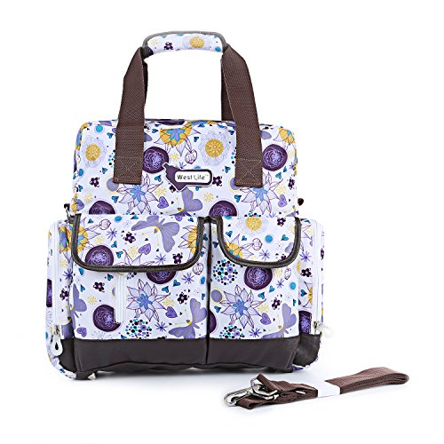Orgrimmar Multifunction Diaper Tote Bags Baby Nappy Bag Larger Capacity Mummy Handbag Backpack (Purple Flower)