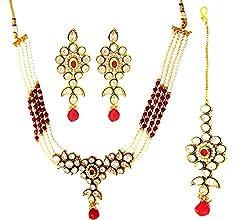 SatyamJewelleryNx Fancy Kundan & Pearl Necklace Set Fashion Jewellery (Wedding Season)