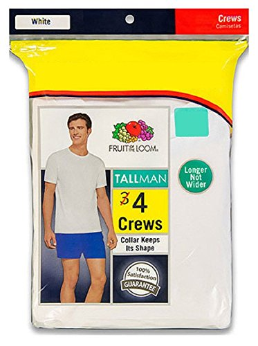 Fruit of the Loom Men's 4-Pack Crew T-Shirts - Tall Man 4P27TM (XLT (Chest 46